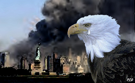 Eagle crys a tear as the world trade towers burn in the background.